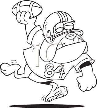 Black and White Dog Cartoon of a Dog Playing Football.