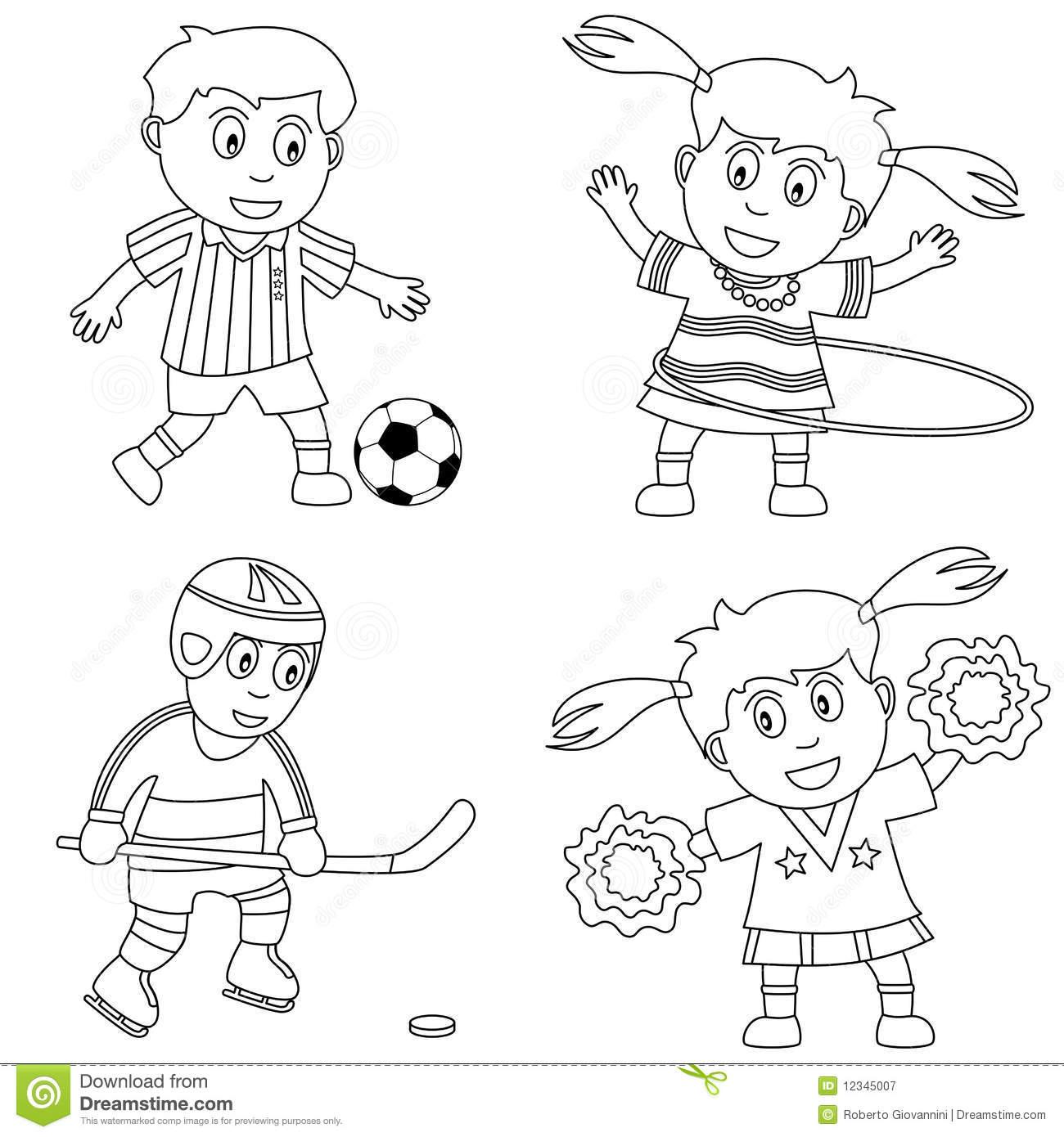 Kids sports clipart black and white