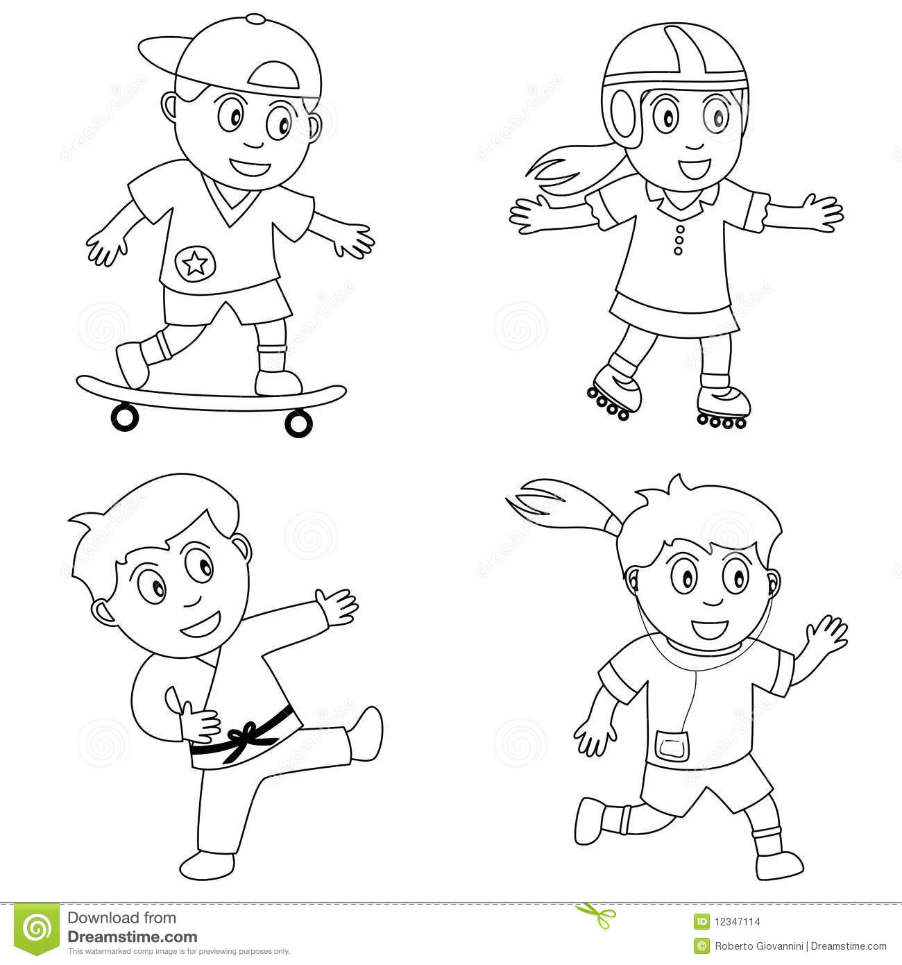 kids playing sports clipart black and white - Clipground