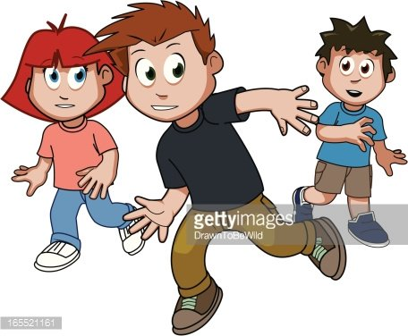 Kids playing tag Clipart Image.