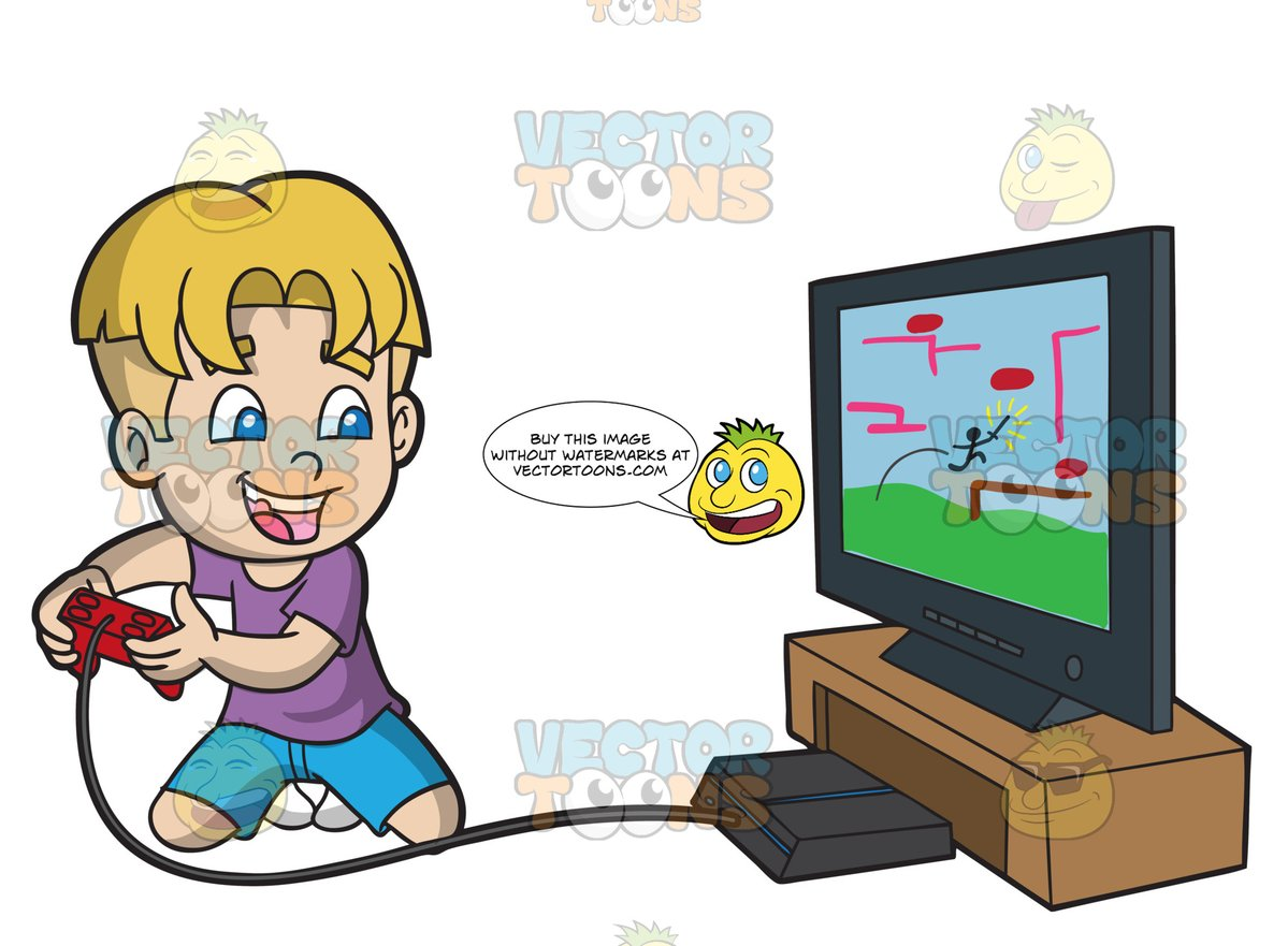 An Excited Kid Playing A Video Game.