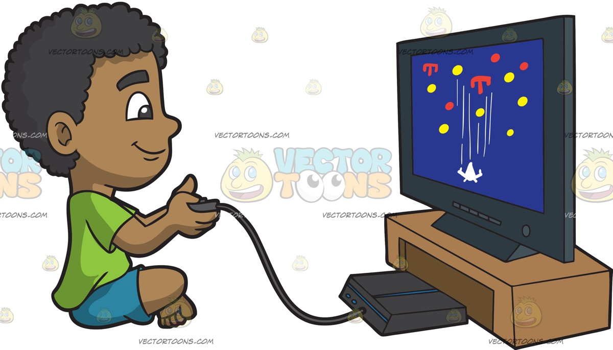 Clipart Boy Playing Video Games.