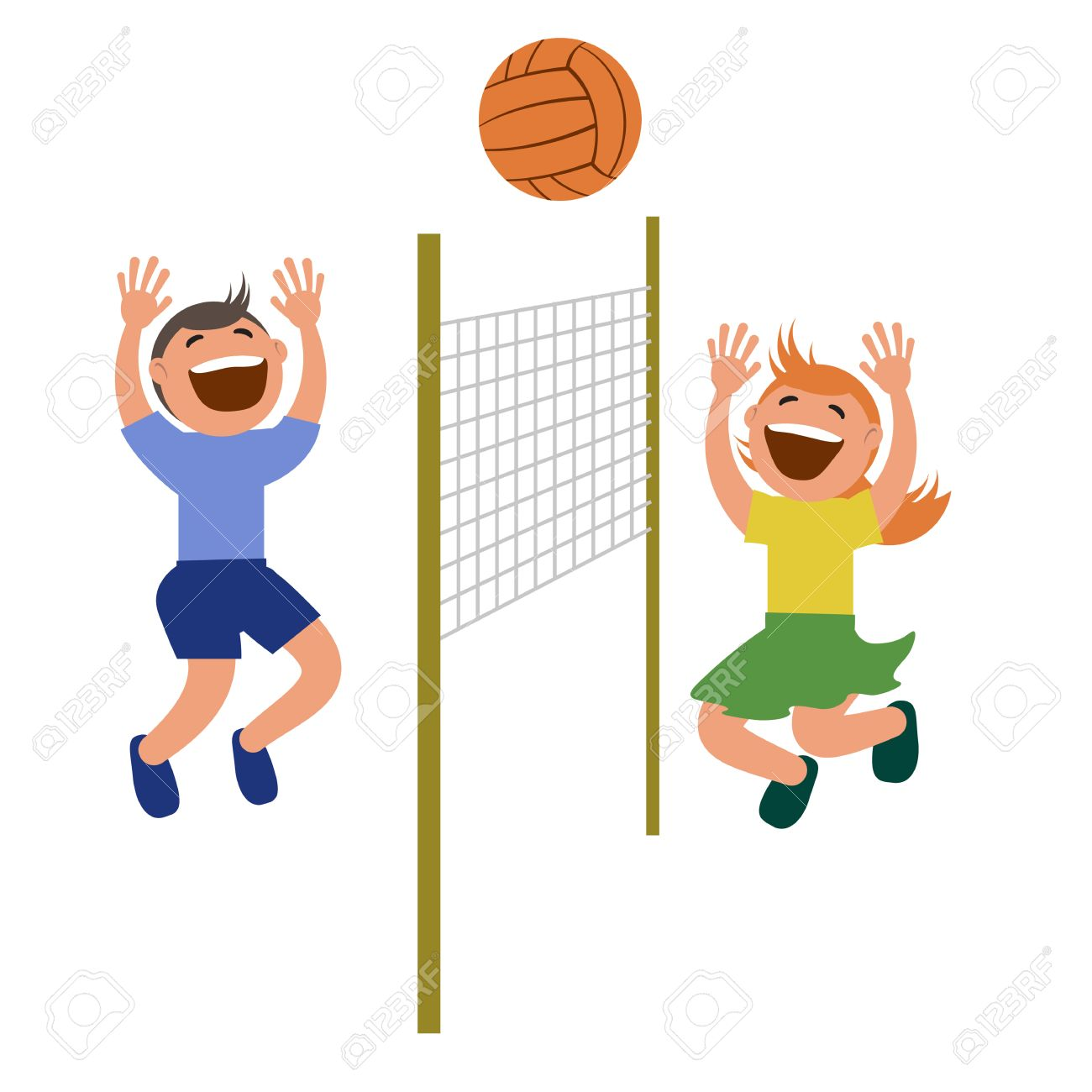 Set of kids playing volleyball. » Clipart Station.