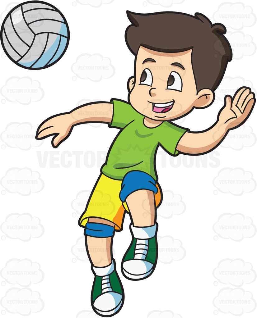 Kids Playing Volleyball Clipart.