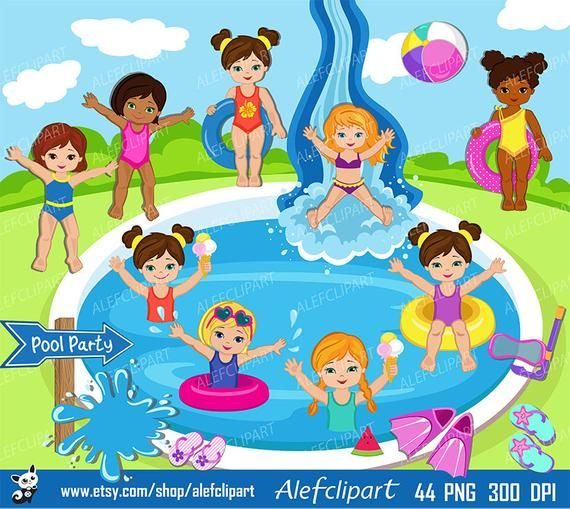 Pool Party Clipart, Pool party clipart , Swim Girls Digital.