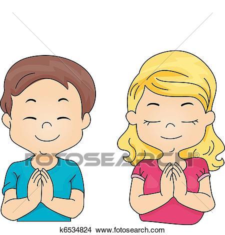 Kids Praying Clipart.