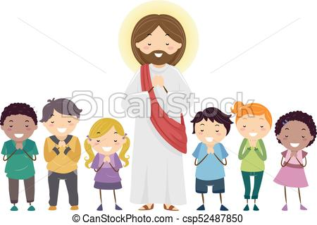 Stickman Kids Jesus Praying Illustration.