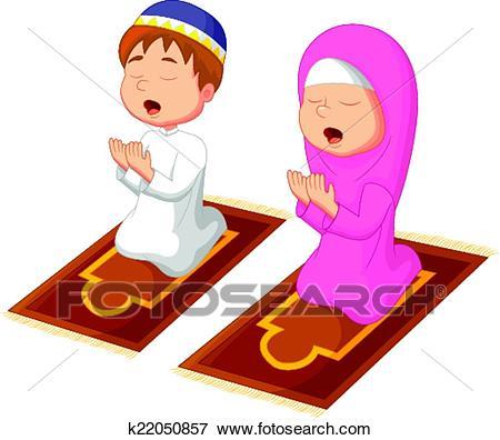 Muslim kid praying Clip Art.