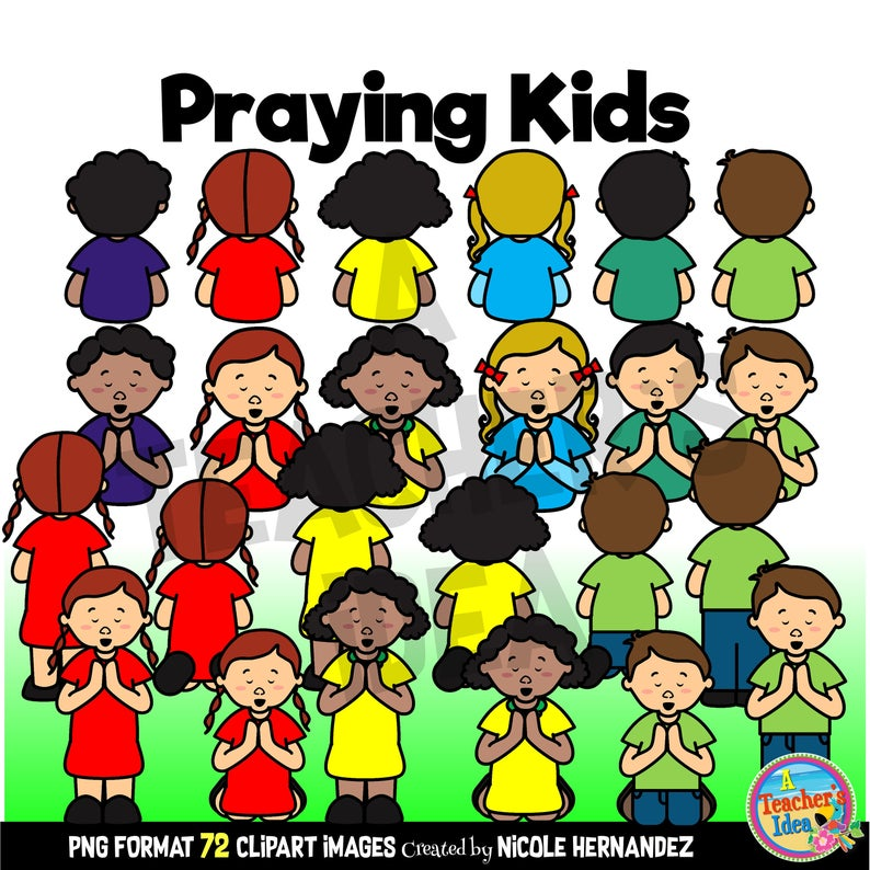 Praying Kids Clipart Commercial Use, Digital Cliparts, Png Images.