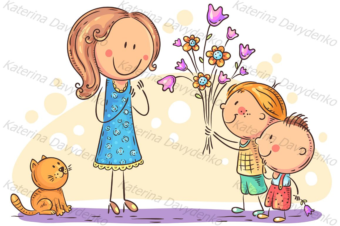 Kids presenting flowers to their mother or teacher.