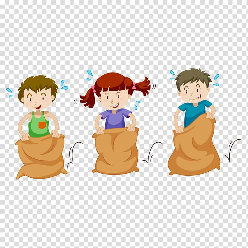 Three kids in sack race, Sack race Gunny sack , student.