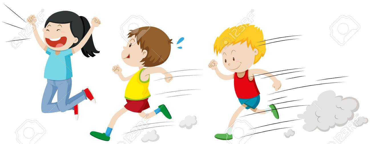 Two boys running in a race illustration.
