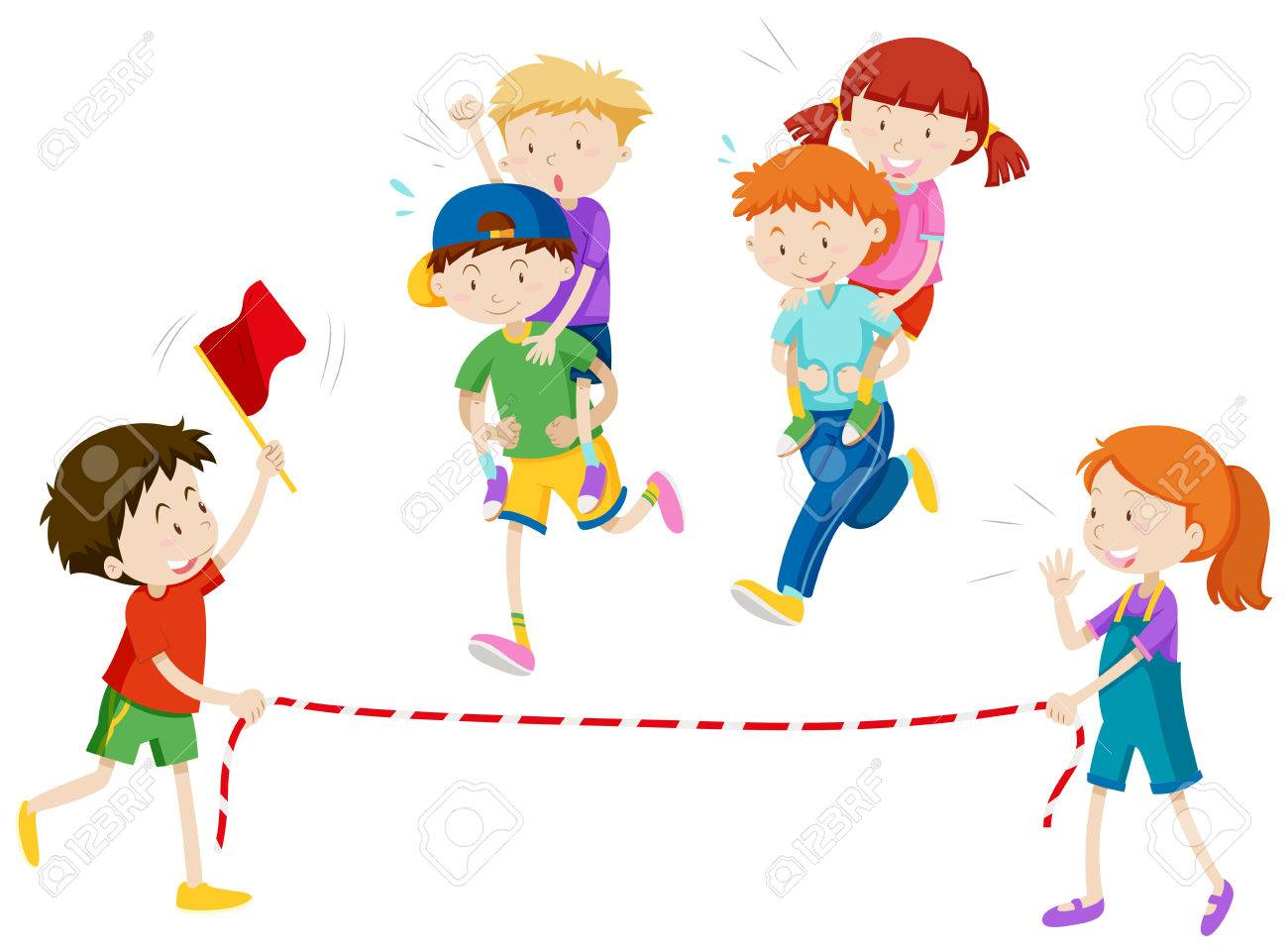 Children playing piggy back ride race illustration.