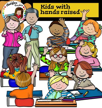 Kids with hands raised clip Art.