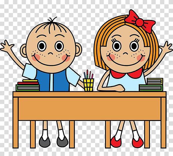Boy and girl raising hands illustration, School Cartoon.