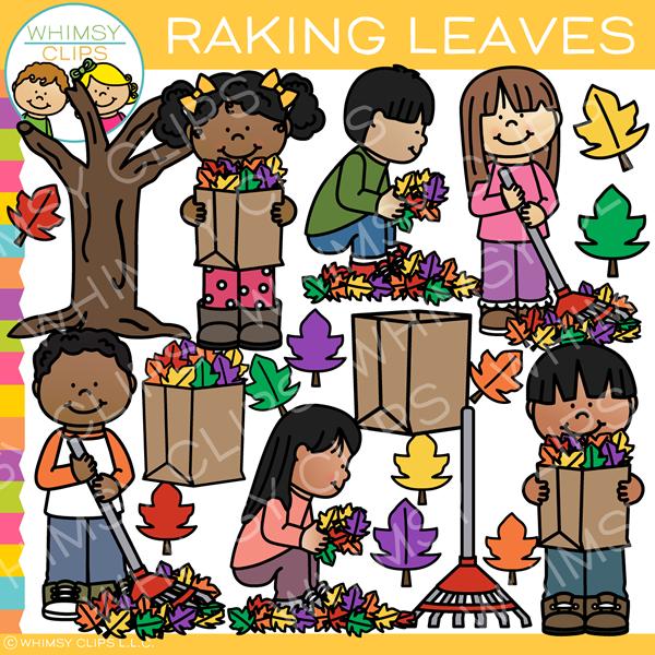Kids Raking Leaves Clip Art.