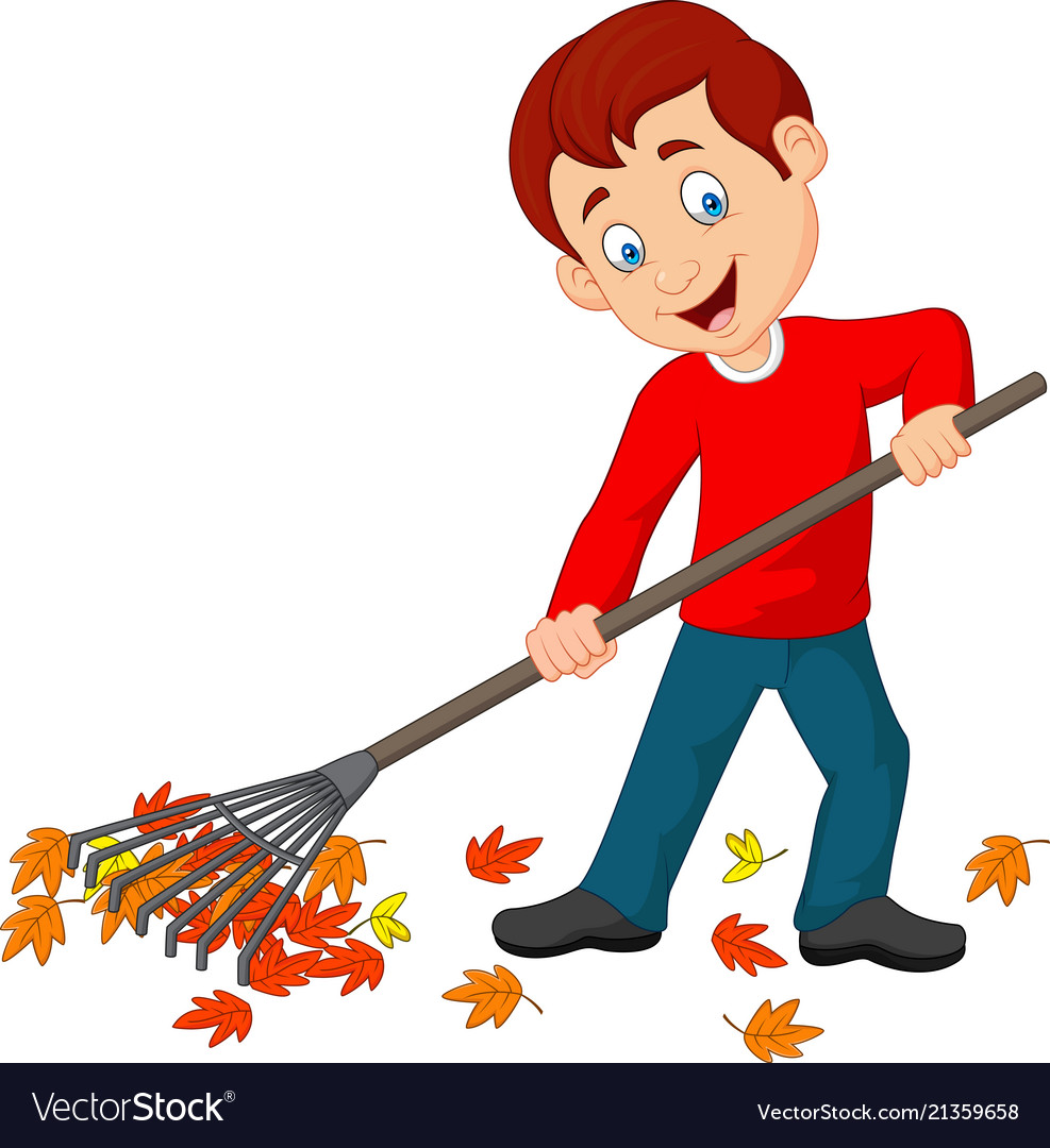 Cartoon happy boy raking leaves.