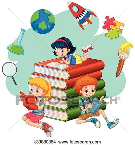 Three kids reading books Clipart.
