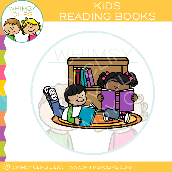 Kids Reading Books On The Floor Clip Art.