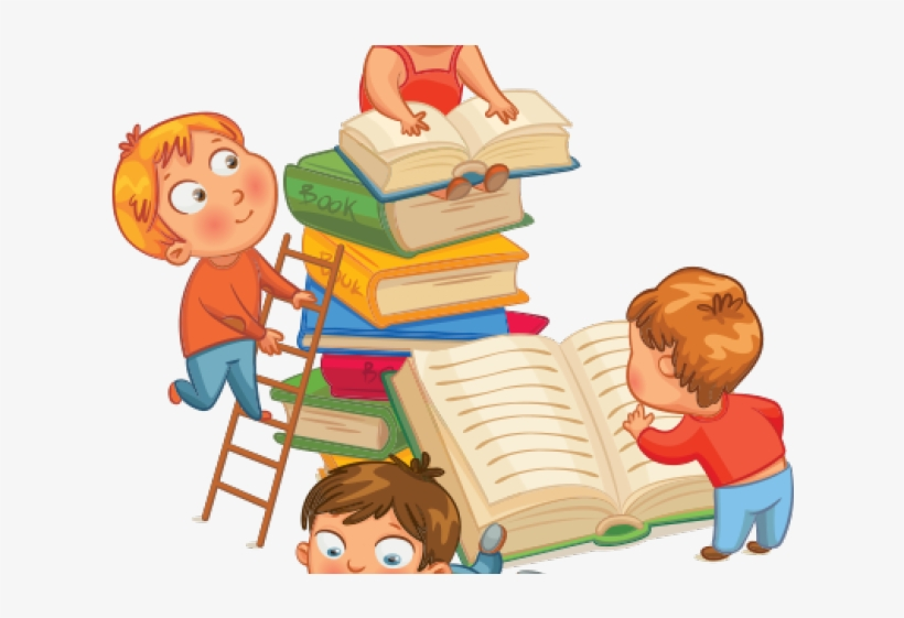 Children Reading Cartoon Transparent PNG.