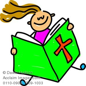 Children Reading Bible Clipart.