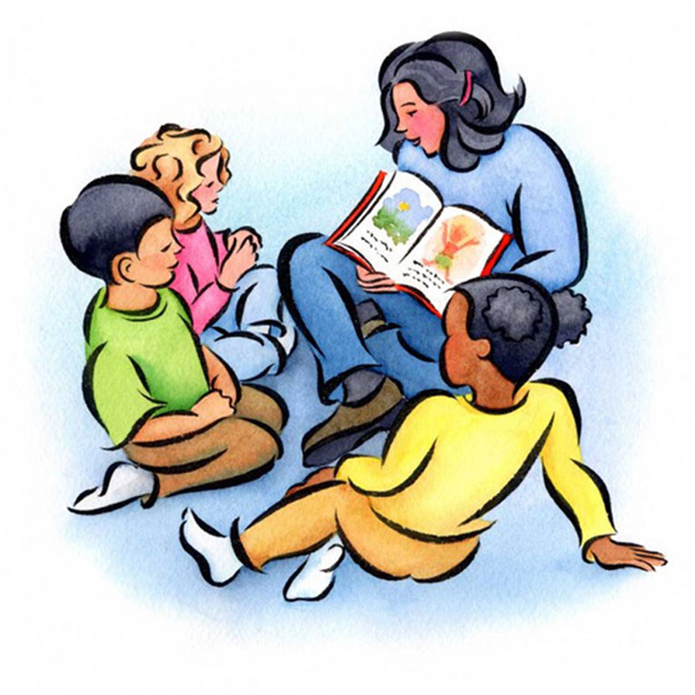 kids reading with teacher clipart #10