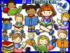 kids reading with teacher clipart #9