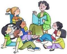 Teacher Reading To Children Clipart.