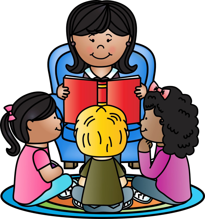 kids reading with teacher clipart #11