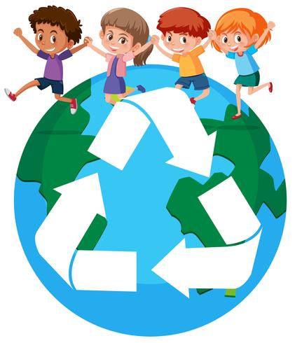 Children around the world recycling concept.