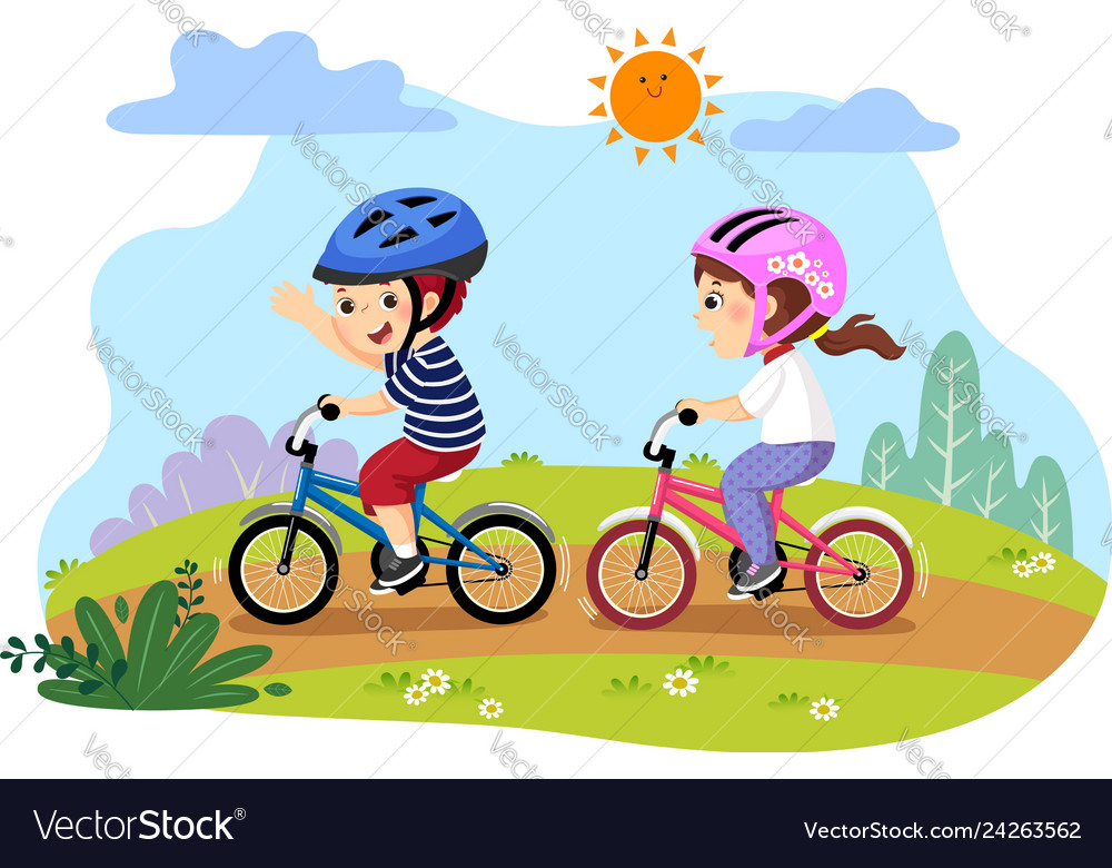 Happy kids riding bicycles in the.