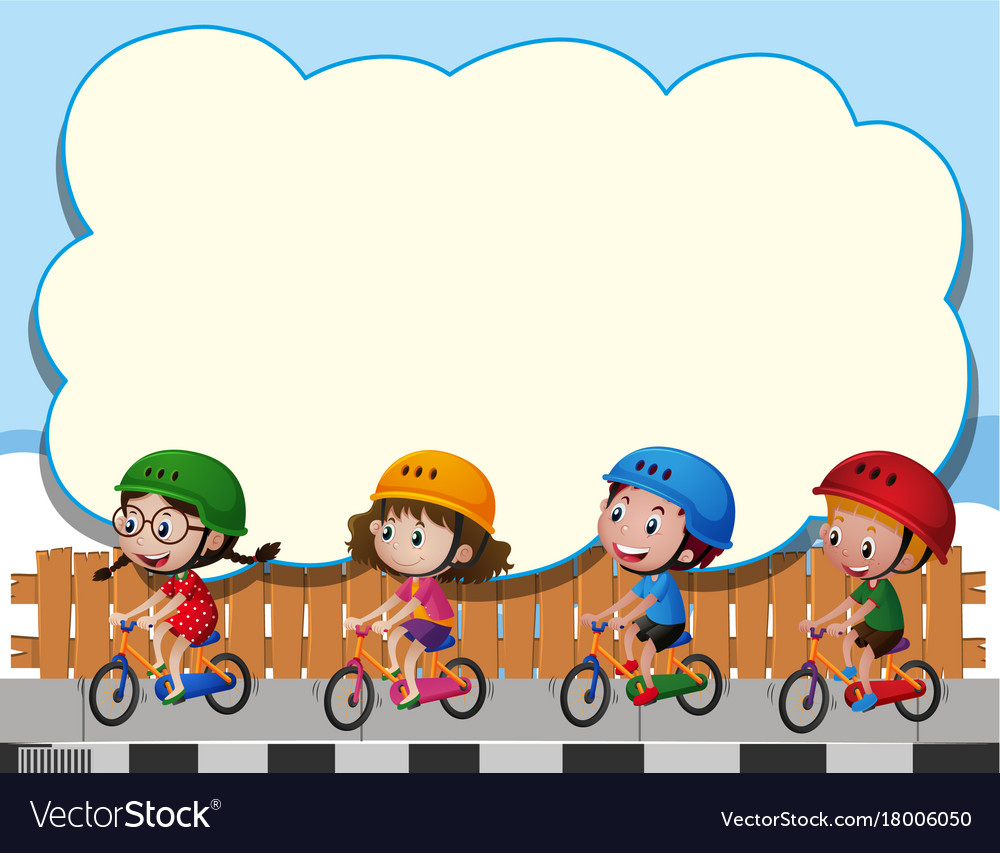 Border template with four kids riding bike.