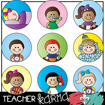Kid & Student Daily Routines * Picture Schedule Clipart.