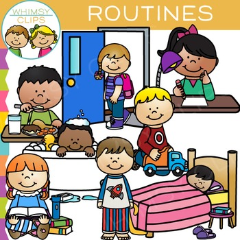 Kids Daily Routines Clip Art.