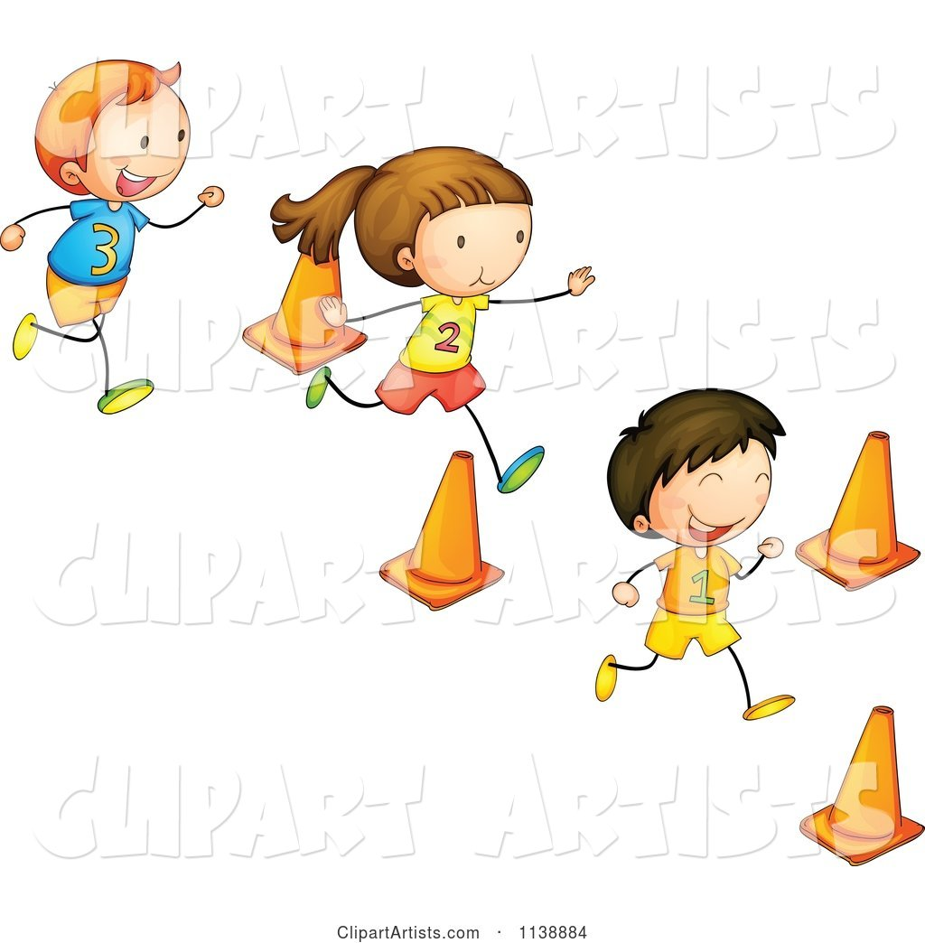 Children Running Through Cones In An Obstacle Race Clipart.