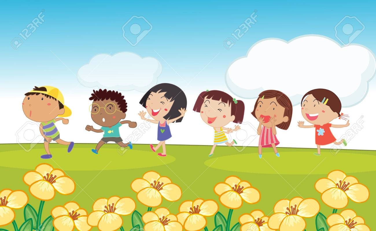 Many kids running around the park illustration.
