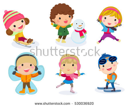 Kids Snow Stock Images, Royalty.