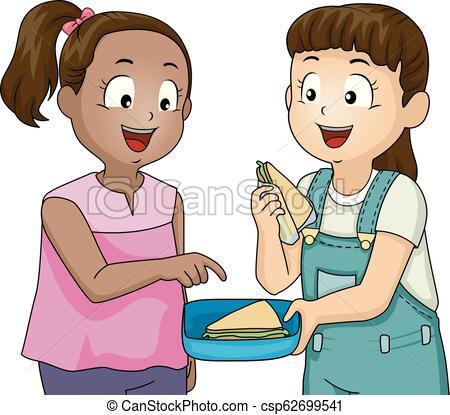 Kids Good Traits Sharing Girls Illustration.