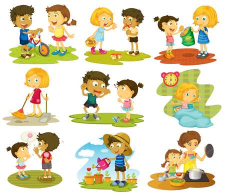 920 Kids Sharing Stock Vector Illustration And Royalty Free Kids.