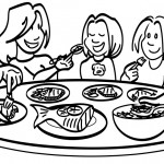Free Nutrition Clipart Family Meal Black And White