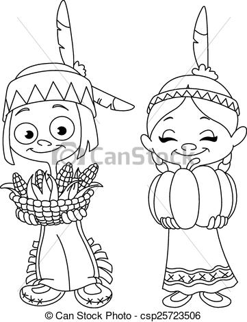Vector Clipart of Outlined American Indian children sharing food.
