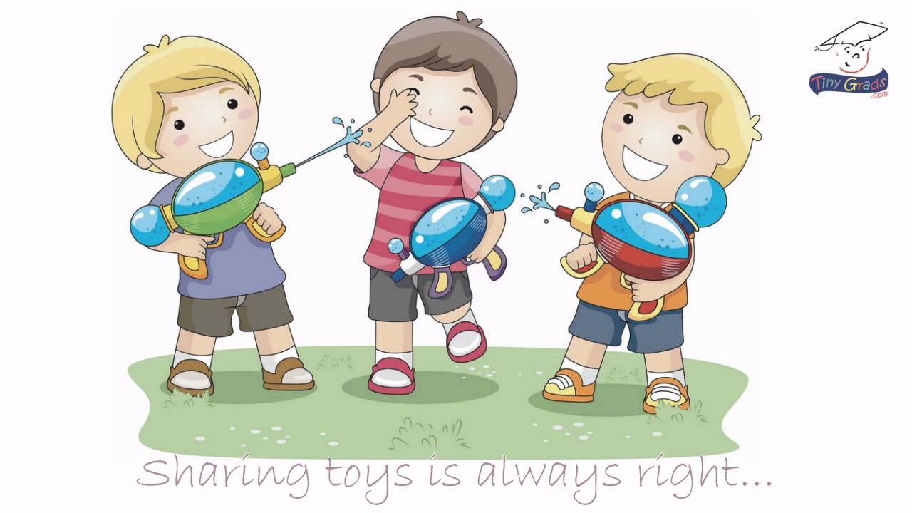 Kids Sharing Clipart Black And White kids sharing toys clip...