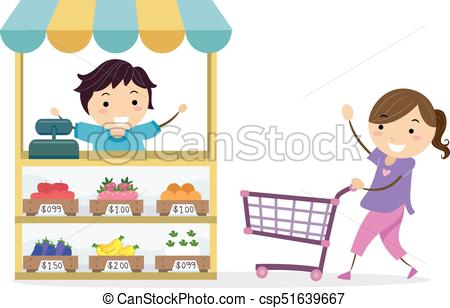 Stickman Kids Play Grocery Shop Illustration.