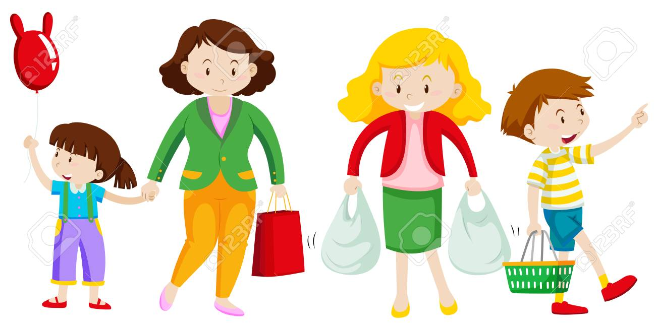 Mother and kid go shopping illustration.