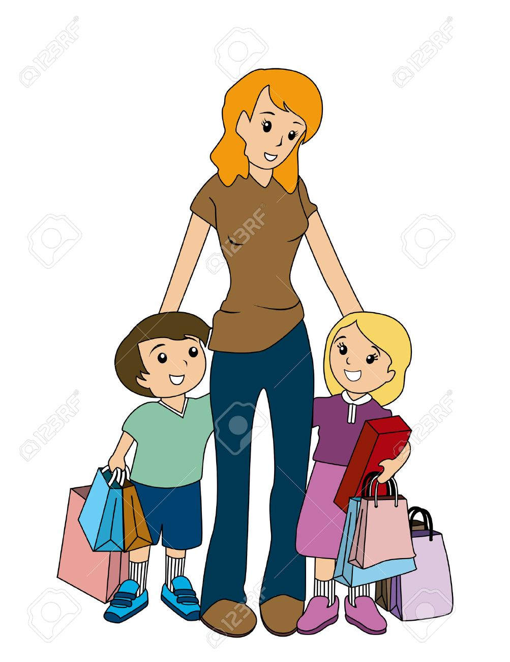 Mother and Children Shopping.