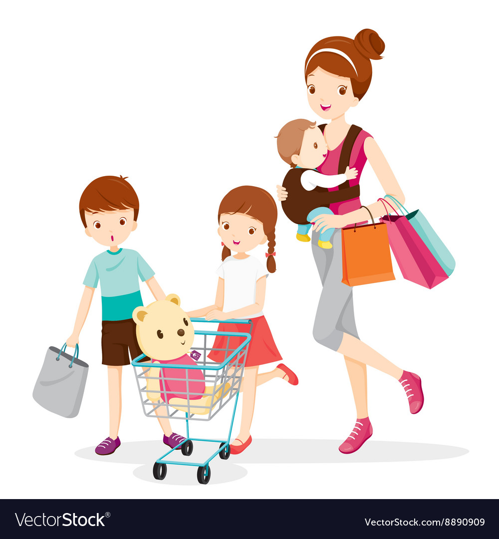 Mother And Children Shopping Together.