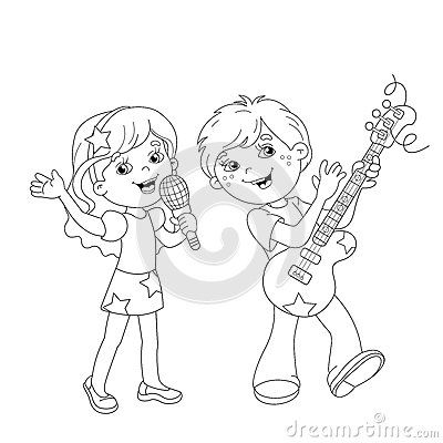 Kids Singing Stage Stock Illustrations.