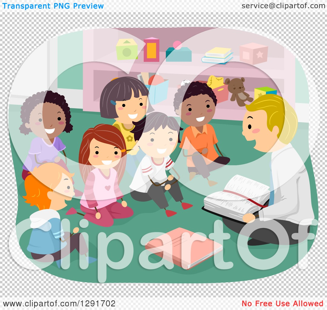 Clipart of a Group of Happy Sunday School Children Sitting and.