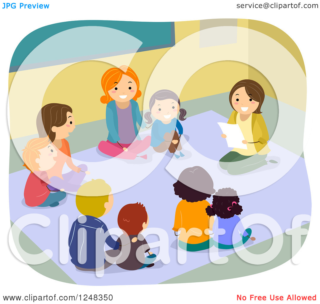 Kids Sitting With Teacher Clipart.
