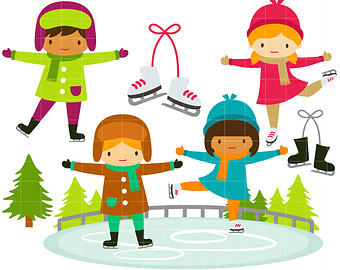 Ice Skating Kids Clipart.